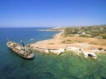 Skeppsbrott EDRO III, Pegeia, Paphos Royaltyfri Fotografi