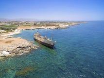 Skeppsbrott EDRO III, Pegeia, Paphos Fotografering för Bildbyråer