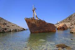 Skeppsbrott i Grekland Arkivbild