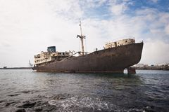 Skeppsbrott i Lanzarote, kanariefågelöar, Spanien arkivbilder