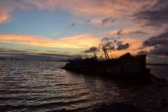 Skeppsbrott i västkusten av Montevideo Arkivbilder
