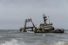 Skeppsbrott på den Skelleton kusten (Namibia) Arkivfoton