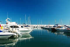 Skeppsdocka Marina Marbella Spain Arkivbilder