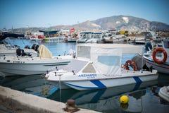 Skeppsdocka med fartyg på Zakynthos Arkivbilder