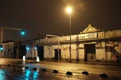 Skeppsdockorna i Dublin på natten royaltyfri fotografi