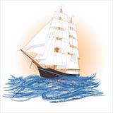 skeppseglingsoluppgång Fotografering för Bildbyråer