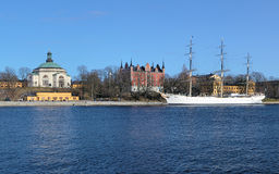Skeppsholm Church, Admiralty House and ship in Stockholm Royalty Free Stock Photos