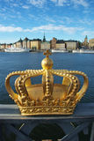 Skeppsholmen bridge and Royal palace Stock Photos