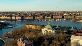 Skeppsholmen in Stockholm, Sweden. Skeppsholmen filmed with view over of Strandvägen, filmed with a Drone, Mavic 2 Pro. 4K 3840x2160, 23,97 fps, 48 Mbps. D stock footage
