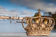 Skeppsholmsbron With Its Famous Golden Crown In Stockholm Royalty Free Stock Photo