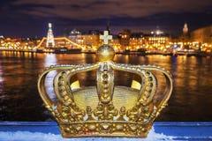 Skeppsholmsbron (Skeppsholm Bridge) With Its Famous Golden Crown Stock Photos