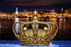 Skeppsholmsbron (Skeppsholm Bridge) With Its Famous Golden Crown Royalty Free Stock Photo