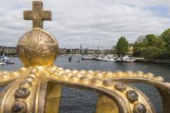 Skeppsholmsbron (Skeppsholm Bridge) With Its Famous Golden Crown Royalty Free Stock Image