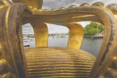 Skeppsholmsbron (Skeppsholm Bridge) With Its Famous Golden Crown Royalty Free Stock Photos