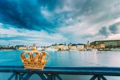 Skeppsholmsbron - Skeppsholm Bridge With Its Famous Golden Crownn Stockholm Royalty Free Stock Photography