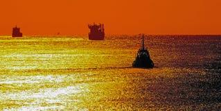 Skeppsolnedgång arkivbild