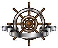 Skeppstyrninghjul med banret Arkivbilder