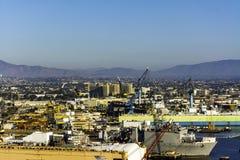 Skeppsvarv i fjärd på San Diego, Kalifornien Arkivfoton