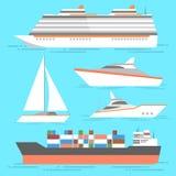 Skeppsymbolsuppsättning Isolerade vektorfartyg Havet sänder samlingen royaltyfri illustrationer