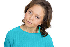The skeptic. Closeup portrait, skeptical senior mature woman looking suspicious, disgust on her face, mixed with disapproval, isolated white background. Negative Stock Photography