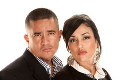 Skeptical or angry Hispanic couple stock photography