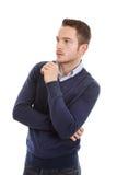 Skeptical atrakcyjny młody człowiek - odizolowywający na bielu Obrazy Stock