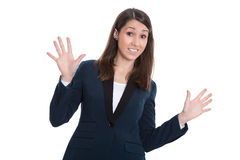 Skeptical business woman hands up - isolated on White. Royalty Free Stock Photos