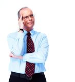 Skeptical businessman. royalty free stock photography