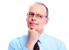 Skeptical businessman. Isolated on white background Stock Photography