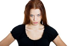 Skeptical grumpy woman Stock Images