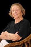 Skeptical lady. Senior citizen expressing skepticism or suspicion royalty free stock images