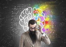 Skeptical man and brain drawing Royalty Free Stock Photos