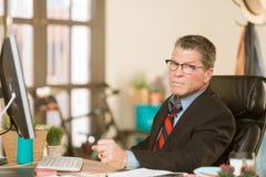 Skeptical Man at His  Desk stock photos