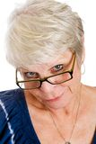 Skeptical mature woman Stock Image