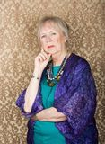 Skeptical Senior Woman Royalty Free Stock Photos