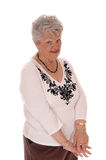 Skeptical senior woman. Stock Image