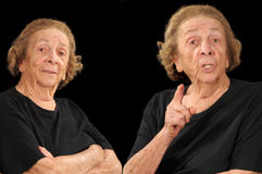 Skeptical twins. Composite of two elderly women, one lecturing one looking skeptical Royalty Free Stock Photography