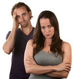 Skeptical Wife With Husband. Skeptical European women and men in with hand on head Stock Photography