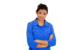 Skeptical woman. Closeup portrait of skeptical young woman with arms crossed looking suspicious disgusted on face, mixed with disapproval, isolated white Stock Photos