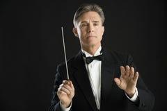 Säker Directing With His för orkesterledare taktpinne Royaltyfri Foto