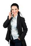 säker mobil telefonkvinna för affär Royaltyfri Fotografi