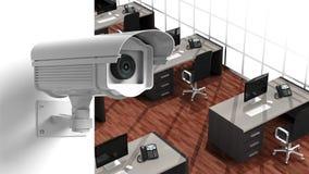 Säkerhetsbevakningkamera på väggen Arkivbilder