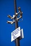 Säkerhetssäkerhetsvideokameror som är i bruk Royaltyfri Foto