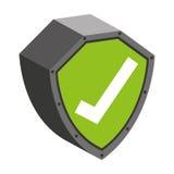 säkerhetsskölden med kontrollsymbol isolerade symbolsdesign Fotografering för Bildbyråer