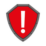 säkerhetsskölden med vaket symbol isolerade symbolsdesign Arkivbilder