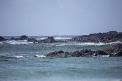 Skerryvore Lighthouse seen from Tiree stock photos