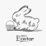 Sket of rabbit with eggs basket for Happy Easter. Happy Easter celebration with sketch of rabbit and a basket full of eggs on white background Stock Photos