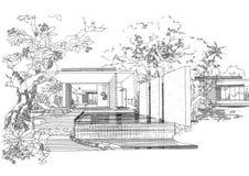 sketc för liggande för arkitekturkonstruktion inre Arkivbild