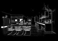sketc för liggande för arkitekturkonstruktion inre Arkivfoton