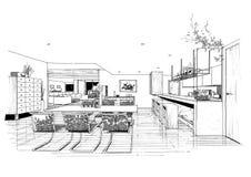 sketc för liggande för arkitekturkonstruktion inre Royaltyfria Bilder